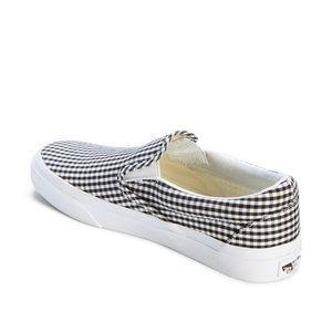 gingham slip on vans black and white
